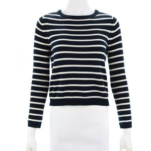 THEORY NAVY & WHITE STRIPED SWEATER SIZE PETITE